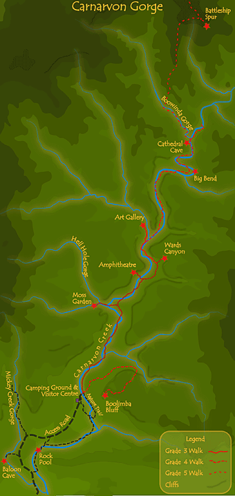 Carnarvon Gorge Map Carnarvon Gorge Walks Carnarvon Gorge Map